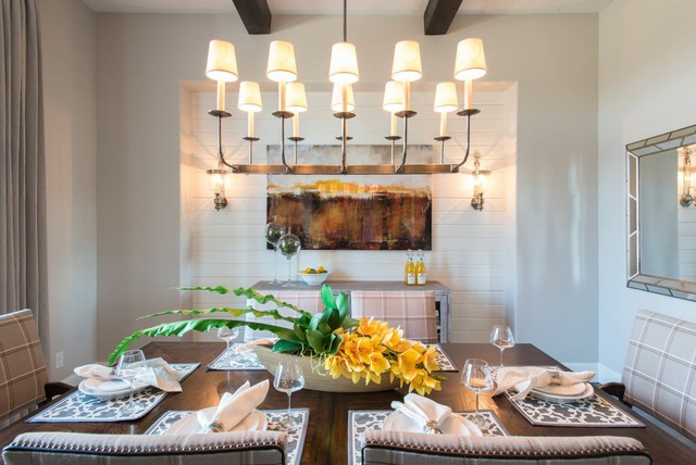Fake Flower Arrangements Dining Room Traditional with Chandelier Exposed Wood Beams Hardwood Table Wall Mirror White