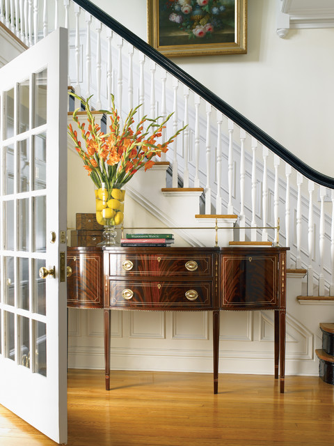 Fake Flower Arrangements Entry Traditional with Antique Furniture Black Banister Closed Staircase Hepplewhite Console Millwork