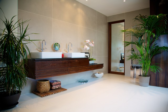 fake orchids Bathroom Asian with basins double sinks floating vanity freestanding sinks full length