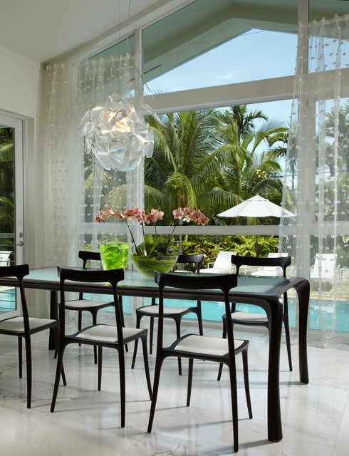 Fake Orchids Dining Room Contemporary with Black Dining Chairs Black Dining Furniture Curtains Drapes Glass