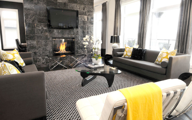 Fake Orchids Living Room Contemporary with Area Rug Black and White Curtains Dark Floor Decorative