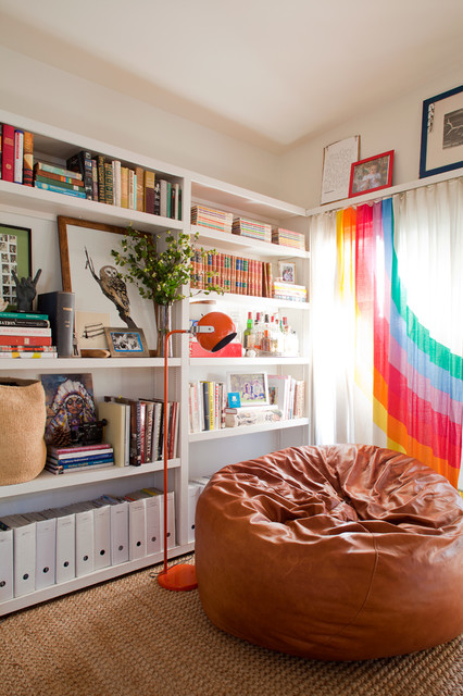 Fatboy Bean Bag Living Room Eclectic with Book Shelves Brown Leather Bean Bag Chair Orange Floor