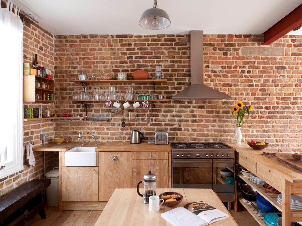 Faux Brick Panels Kitchen Contemporary with Bench Brick Wall Exposed Beam Farmhouse Sink