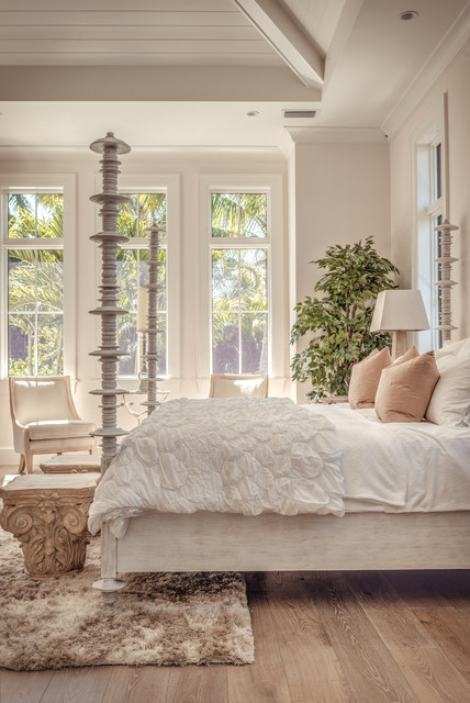 Faux Fur Rug Bedroom Transitional with Faux Fur Rug Four Poster Bed Vaulted Ceiling White