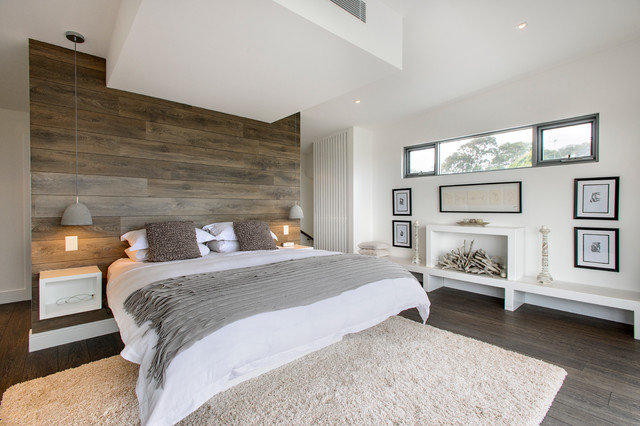 Faux Sheepskin Rug Bedroom Contemporary with Artwork Bedroom Built in Bed Built in Bench Seat Faux Fireplace
