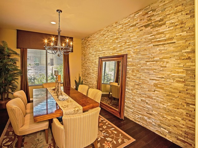Faux Stone Wall Panels Dining Room Traditional with Beige Ceiling Beige Striped Dining Chair Beige Table Runner