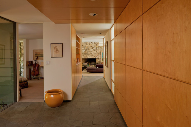 Faux Stone Wall Panels Entry Contemporary with Built in Storage Ceiling Lighting Entry Foyer Minimal Recessed