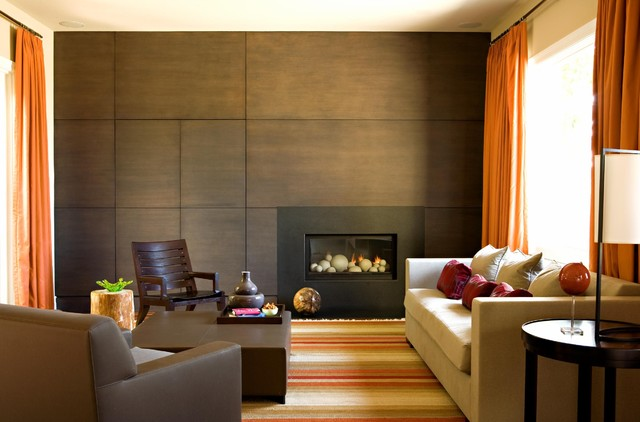 faux stone wall panels Living Room Contemporary with accent wall area rug curtains decorative pillows drapes end