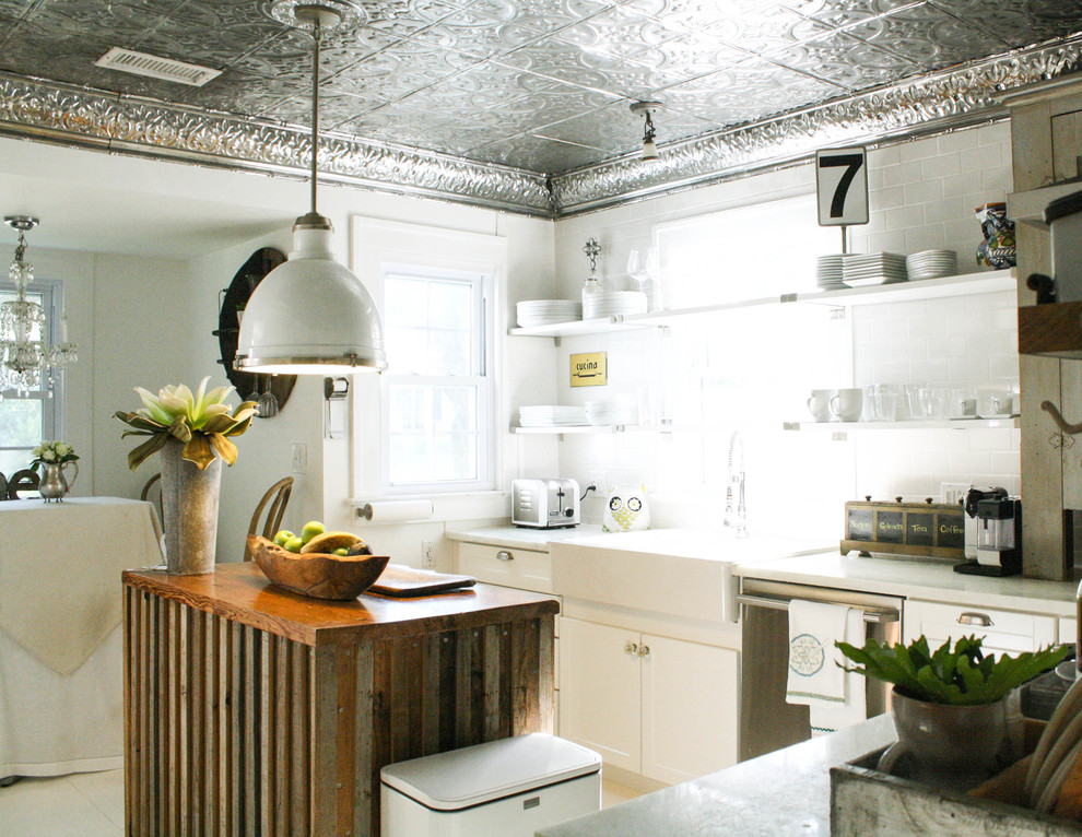 Faux Tin Backsplash Kitchen Eclectic with Antique Apron Sink French Country Kitchen Kitchen