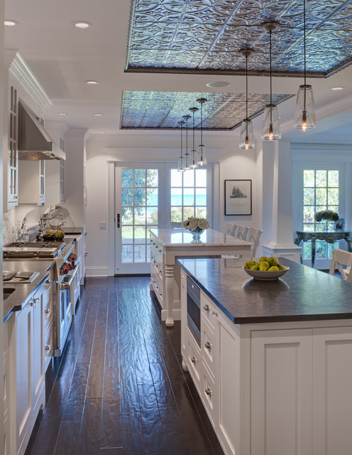 Tin Ceiling Lights Faux tin ceiling tiles kitchen traditional with airy ceiling faux tin ceiling tiles kitchen traditional with airy ceiling lighting dark floor double islands embossed tin audiocablefo