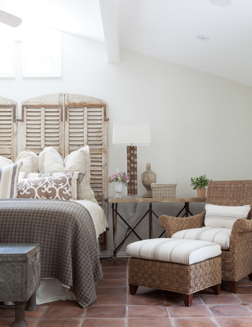Faux Wood Shutters Bedroom Transitional with Bedroom Bench Beige Bedding Beige Throw Pillow Natural Lighting