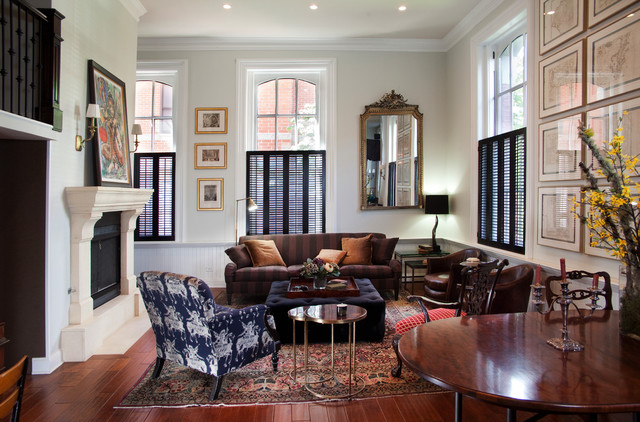 Faux Wood Shutters Living Room Traditional with Area Rug Black Shutters Brown Striped Couch Ceiling Lighting