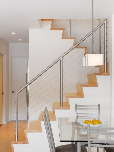 feeney cable rail Staircase Contemporary with cable railing dining chair dining room dining table glass
