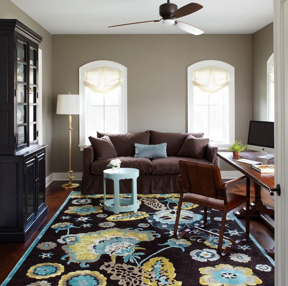 Feizy Rugs Home Office Traditional with Antique Desk Arched Windows Armoire Black Bookcase