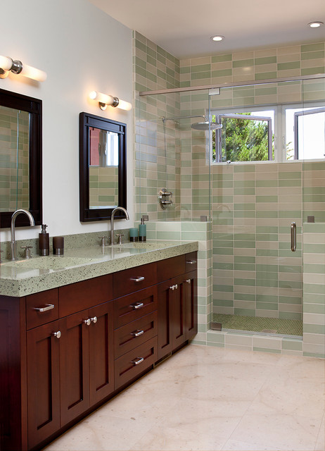Fiberglass Shower Enclosures Bathroom Traditional with Casement Windows Dark Stained Wood Double Vanity Frame And