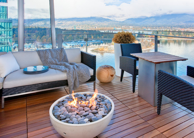 fire pit glass rocks Porch Contemporary with accent table balcony fire bowl flames glass panel railing