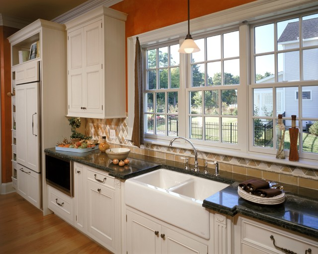 Fireclay Sink Kitchen Traditional with Cabinet Details Cabinet Front Fridge Farmhouse Sink Granite Counters