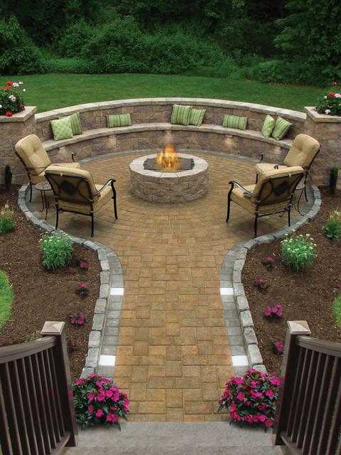 Firepit Kit Patio Traditional with Curved Bench Curved Wall Exterior Staircase Fire Pit Grass
