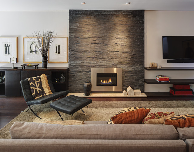 Fireplace Fronts Living Room Contemporary with Area Rug Beige Wall Console Cushions Dark Hardwood Floors