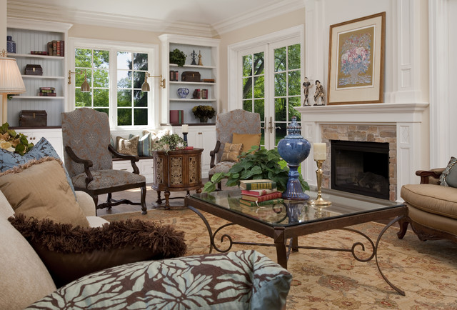 Fireplace Fronts Living Room Traditional with Bookcase Crown Molding Fireplace French Doors Indooroutdoor Fireplace Living