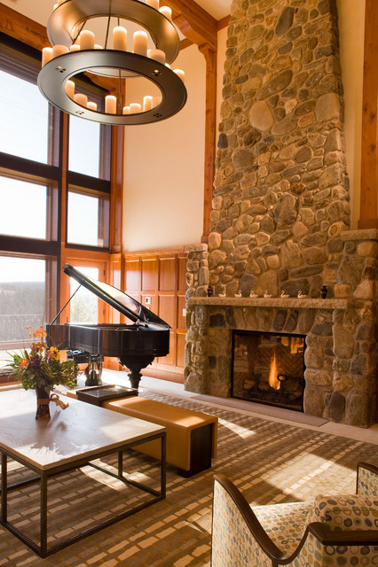 Fireplace Glass Rocks Family Room Rustic with Area Rug Cabin Candle Holder Candles Centerpiece Chandelier Cherry