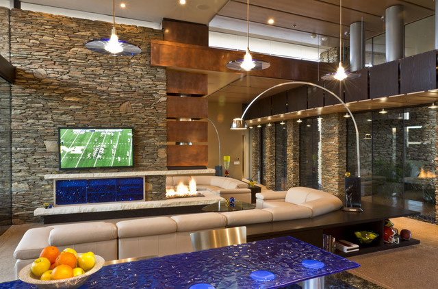 Fireplace Glass Rocks Living Room Southwestern with Arc Lamp Clerestory Great Room High Ceilings Mixed Materials