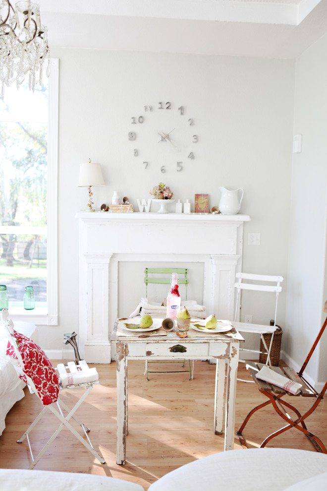 Fireplace Mantel Ideas Living Room Shabby Chic with Distressed Furniture Fireplace Mantel Folding Cafe Chairs1