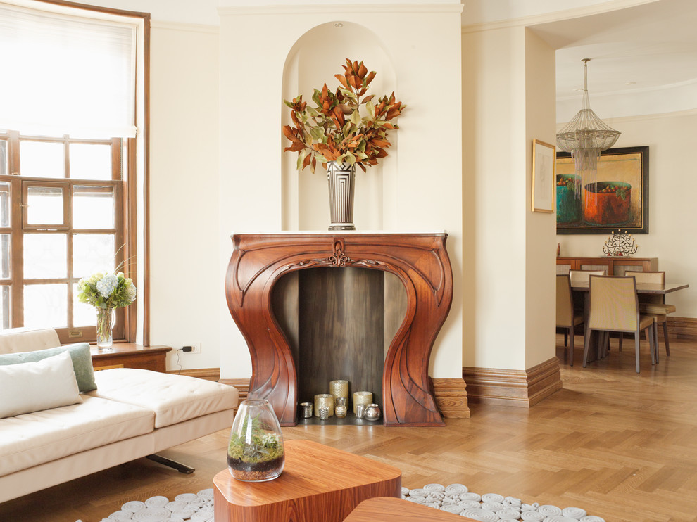 Fireplace Mantel Kits Living Room Transitional with Art Nouveau Mantel Beige Dining Chair Chandelier