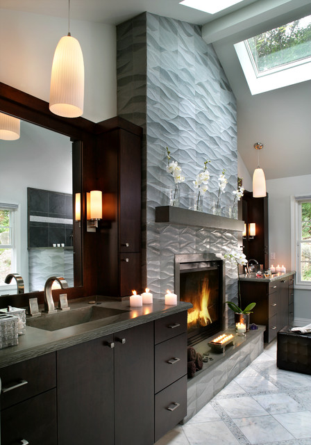 Fireplace Mantel Shelf Bathroom Contemporary with Cathedral Ceiling Fireplace in Bathroom Gray Countertop Pendant Lights