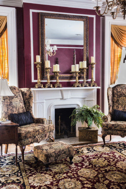 Fireplace Mantel Shelf Bedroom Traditional with Antique Mirror Antiques Jewel Tone Mantals Oriental Rug Wing Back