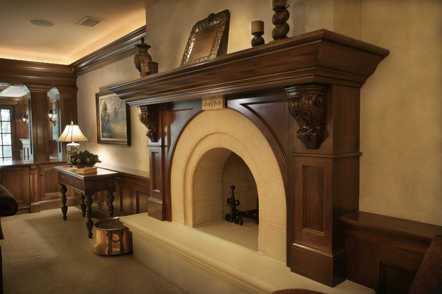 Fireplace Mantels and Surrounds Family Room Traditional with Beige Carved Stone Carved Wood Mantel Console Dark Stained
