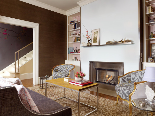 Fireplace Mantels and Surrounds Living Room Contemporary with Accent Wall Area Rug Bookshelves Built in Shelves Built