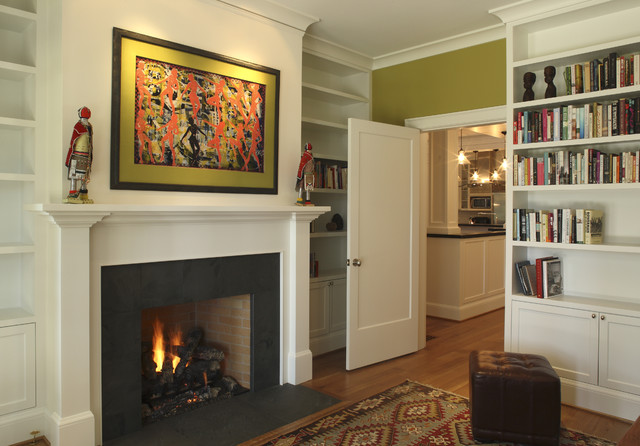 Fireplace Mantels and Surrounds Living Room Contemporary with Area Rug Artwork Bookcase Bookshelves Built in Shelves Chartreuse