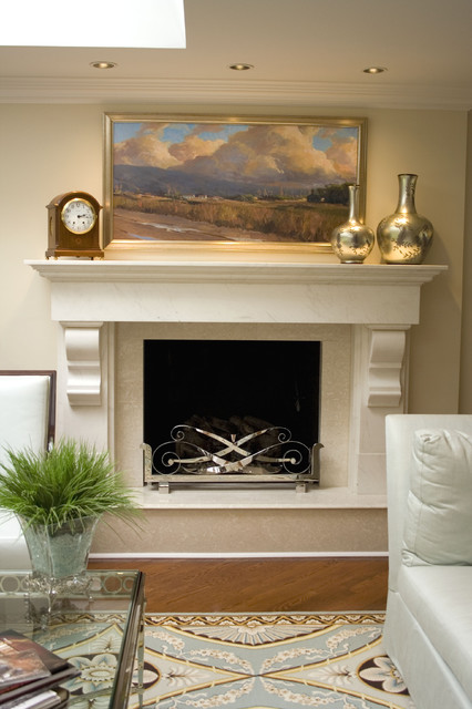 fireplace mantels and surrounds Living Room Contemporary with area rug blue and brown ceiling lighting crown molding