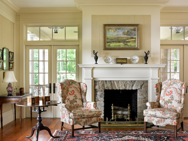 Fireplace Mantels and Surrounds Living Room Traditional with Area Rug Armchairs Console Fireplace Floral Upholstery Framed Art