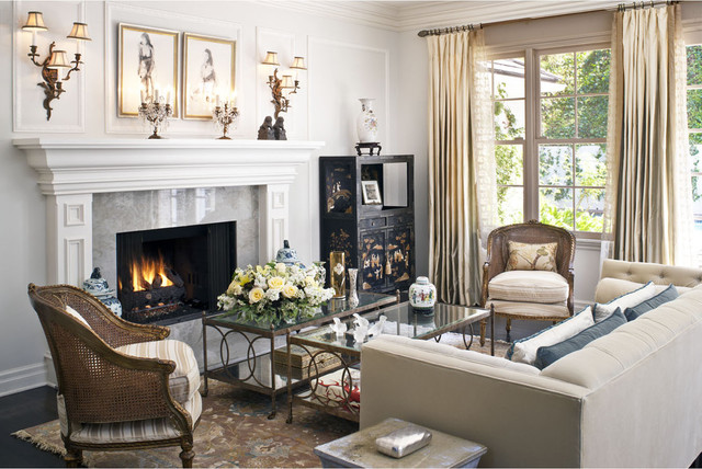 Fireplace Mantels and Surrounds Living Room Traditional with Area Rug Baseboards Cane Chair Crown Molding Curtains Dark