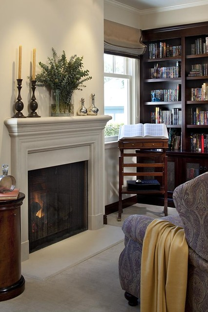 Fireplace Mantels and Surrounds Living Room Traditional with Book Stand Bookcase Bookshelves Built Ins Candles Candlesticks Crown
