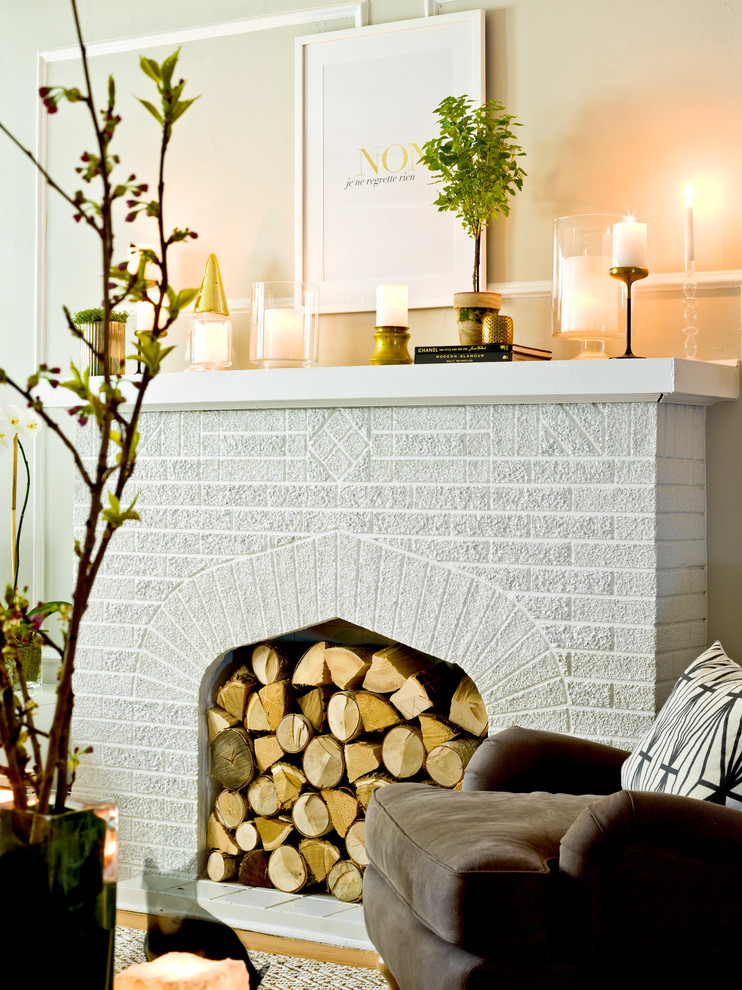 Fireplace Mantels Ideas Living Room Eclectic with Brick Mantel Brown Sofa Chair Candles Fireplace