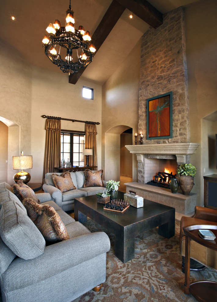 Fireplace Mantels Ideas Living Room Traditional with Arch Doorway Archway Beige Wall Brown Area