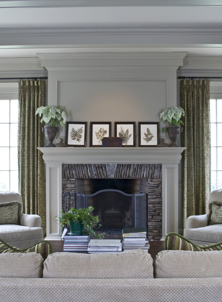 Fireplace Refacing Family Room Traditional with Botanical Prints Container Plant Crown Molding Curtains