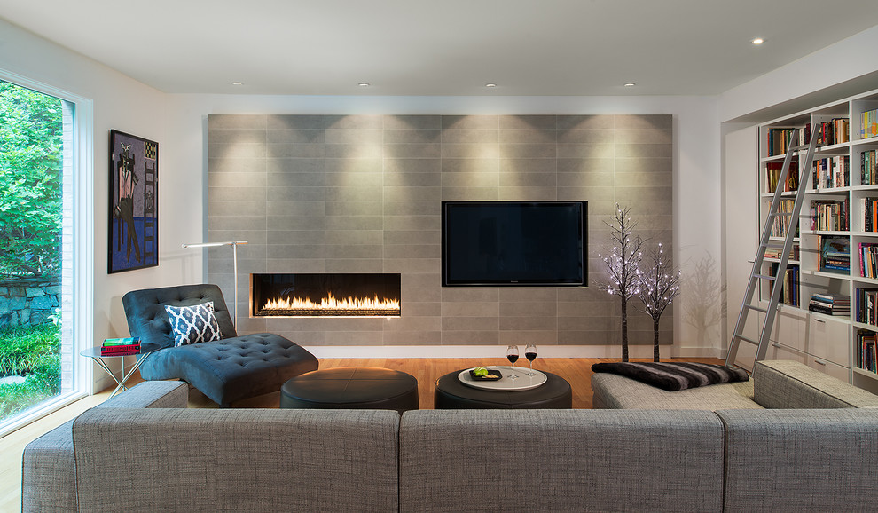 Fireplace Refacing Living Room Contemporary with Built in Bookcases Chaise Lounge Chairs Contemporary Artwork