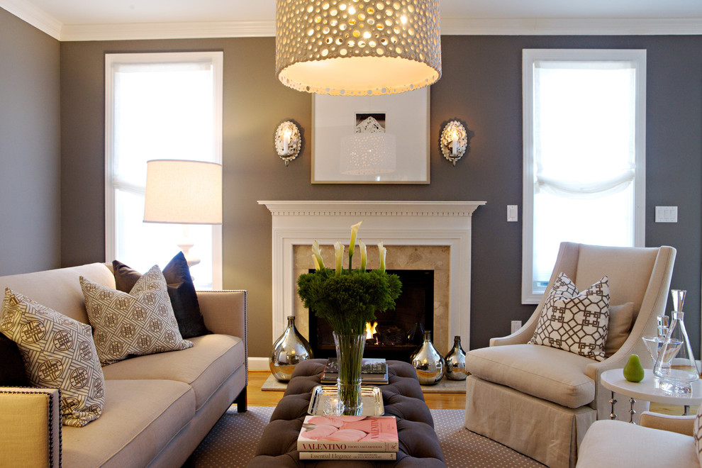 Fireplace Refacing Living Room Transitional with Area Rug Decorative Pillows Demijohn Drum Pendant