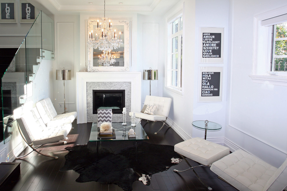 Fireplace Surround Kits Living Room Contemporary with Animal Hide Chandelier Chrome Lamp Shades Coffee1