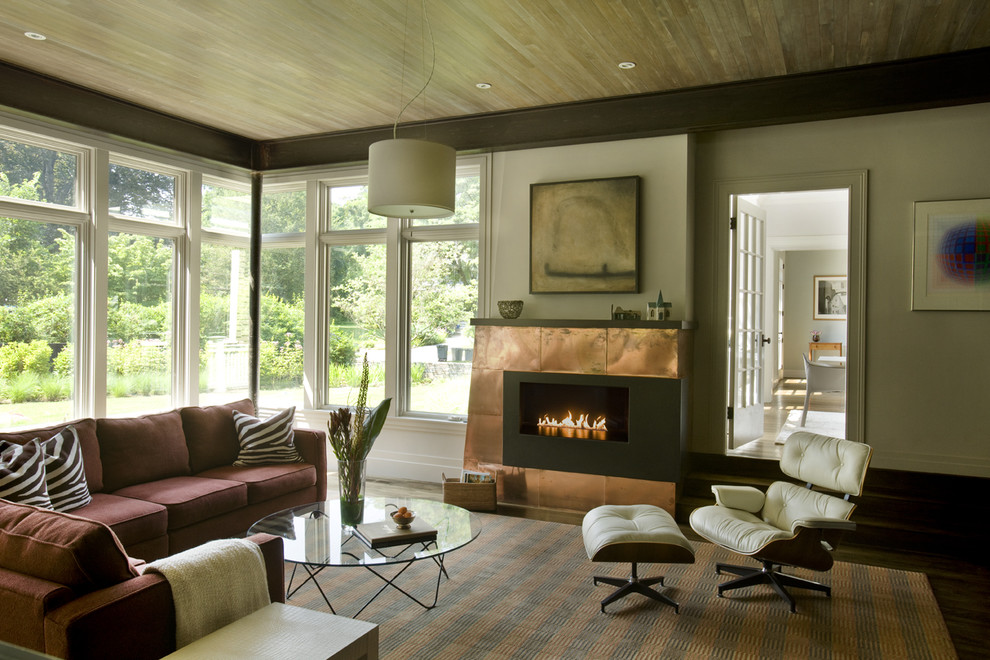 Fireplace Surround Kits Living Room Contemporary with Copper Copper Fireplace Eames Lounge Eco Friendly Fireplace1
