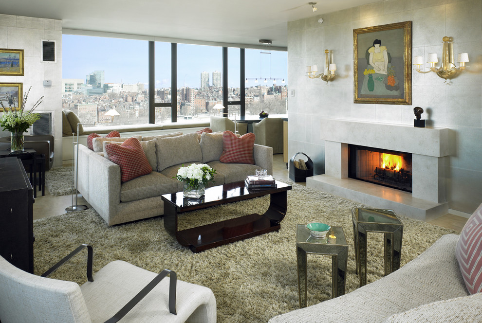 Fireplace Surround Kits Living Room Transitional with City View Fireplace Mirrored Side Tables Sconce1
