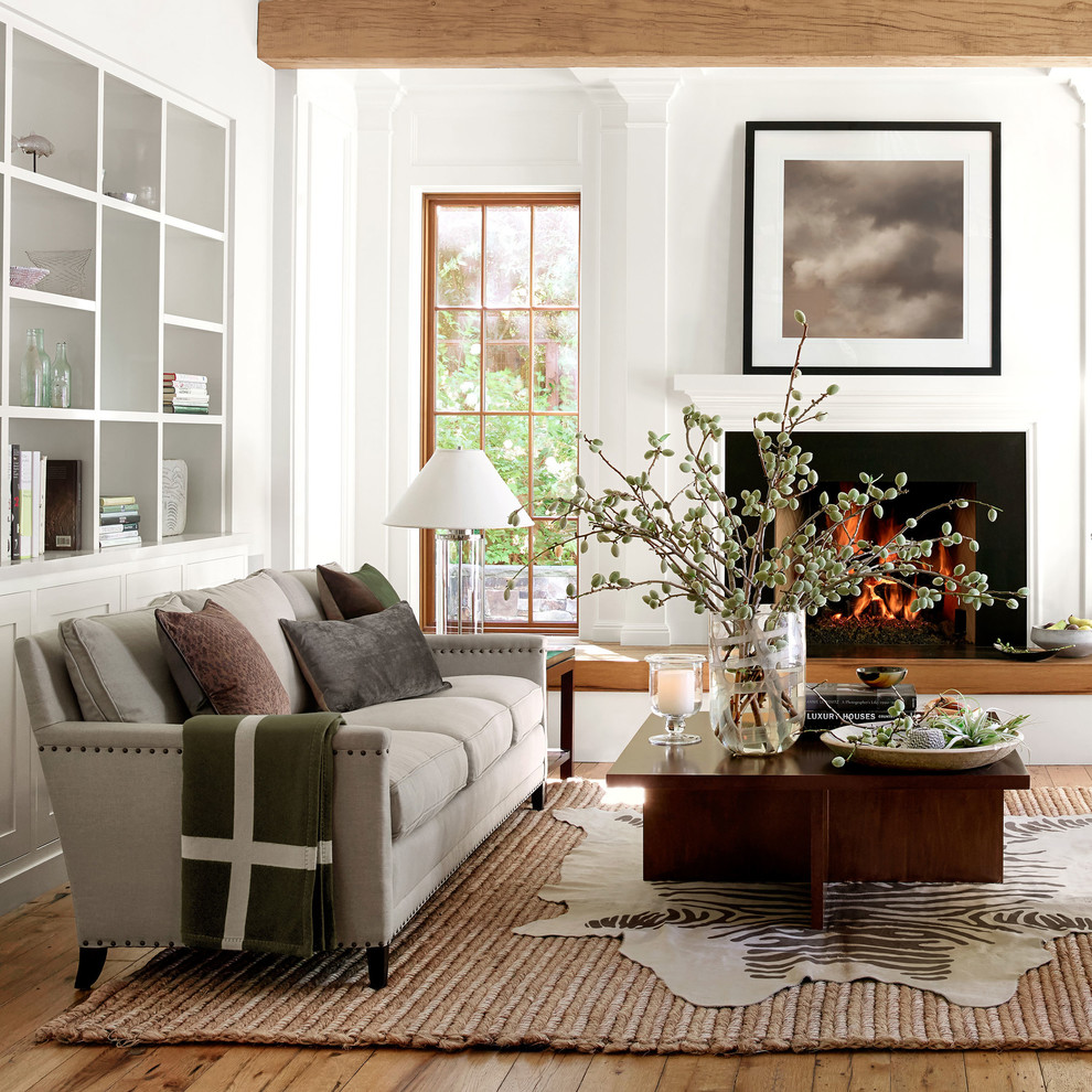 fireplace surround kits living room transitional with area rug