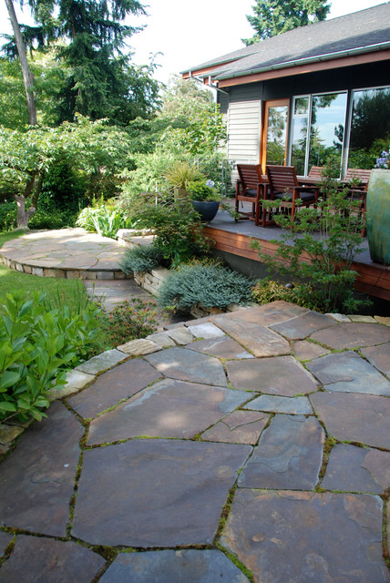 Flagstone Patio Cost Landscape Contemporary With Backyard Curved Patio  Flagstone Ipe Decking Mature Trees Outdoor