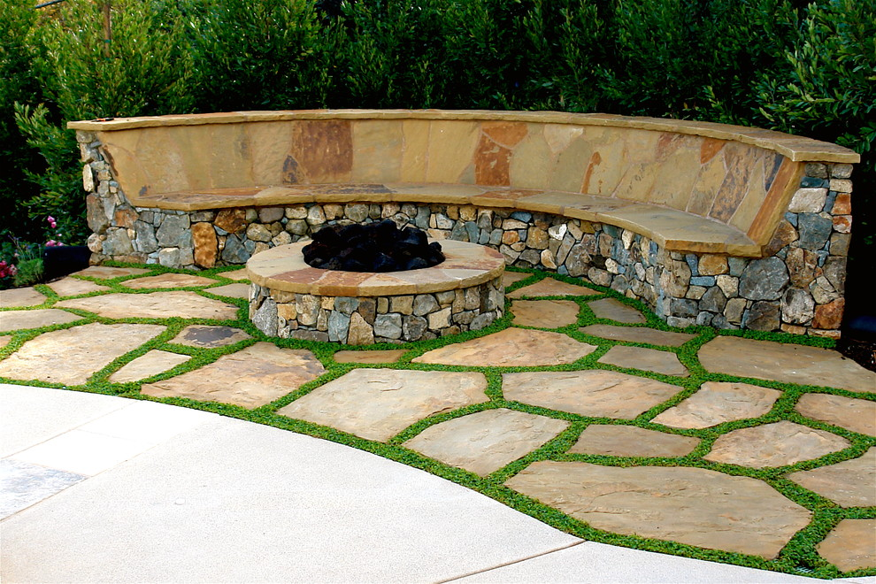 Flagstone Pavers Landscape Mediterranean with Bench Bushes Concrete Patio Curved Bench Fire