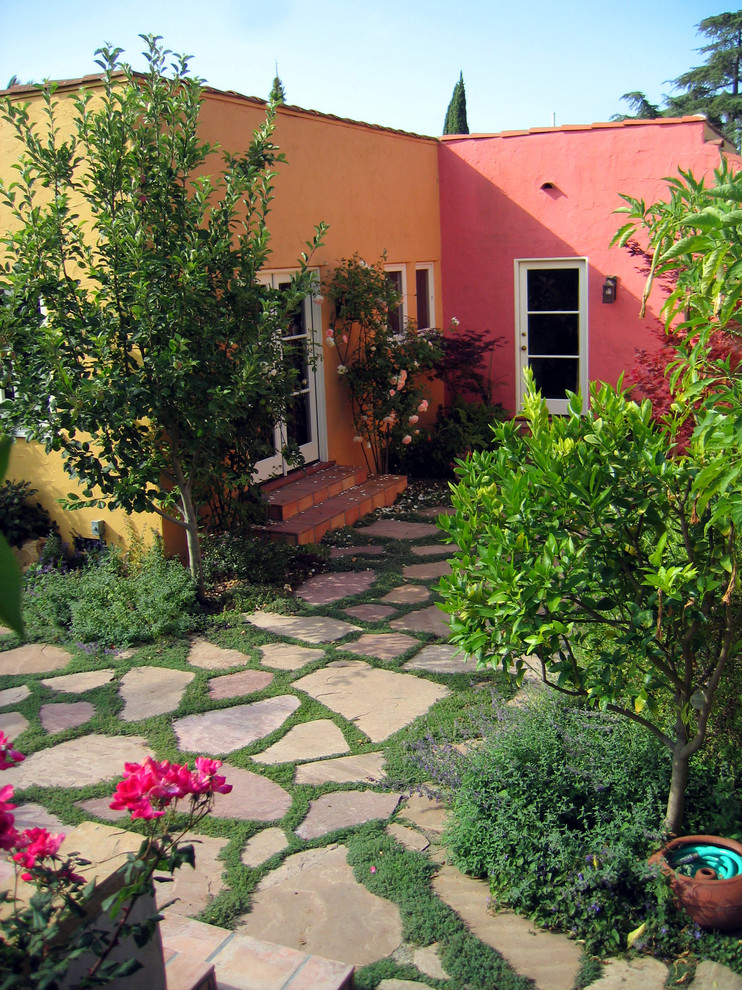 Flagstone Pavers Landscape Modern with Bold Colors Colorful Courtyard French Doors Garden