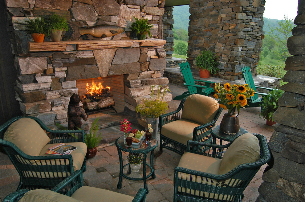 Flagstone Pavers Patio Rustic with American Rustic Cabin Covered Patio Craftsman Custom Made